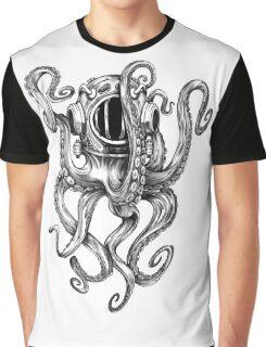 Octopus Scuba Diver Helmet Graphic T-Shirt