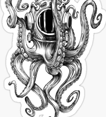 Octopus Scuba Diver Helmet Sticker