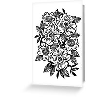 Black and white minimal modern floral flowers boho trendy hipster abstract watercolor painting Greeting Card