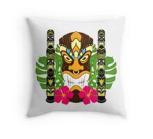 Tiki Statue & Totems Throw Pillow