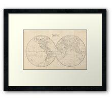 Vintage Map of The World (1857) Framed Print