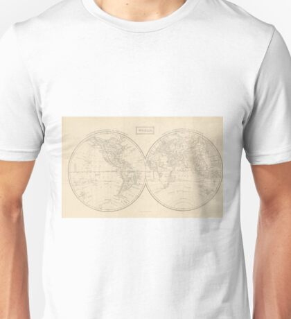 Vintage Map of The World (1857) Unisex T-Shirt