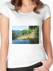 Pliva River Flowing Over Jajce Waterfall Women's Fitted Scoop T-Shirt