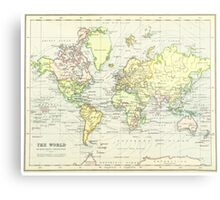 Vintage Map of The World (1899) Metal Print