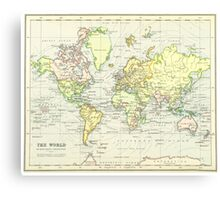 Vintage Map of The World (1899) Canvas Print