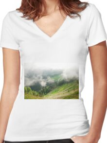 Low Cloud Over Carnic Alps Near Sauris Women's Fitted V-Neck T-Shirt