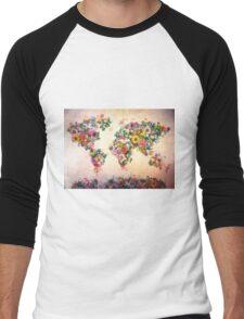 world map floral 4 Men's Baseball ¾ T-Shirt