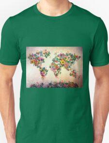world map floral 4 Unisex T-Shirt