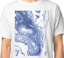 Iwao - abstract minimal indigo blue art print swirl wave water ocean map maps topography marble  Classic T-Shirt
