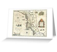Vintage Map of New England (1635) Greeting Card