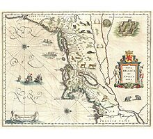 Vintage Map of New England (1635) Photographic Print