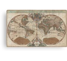 Vintage Map of The World (1691) 2 Canvas Print