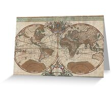 Vintage Map of The World (1691) 2 Greeting Card