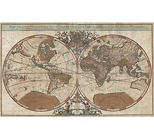 Vintage Map of The World (1691) 2 Photographic Print