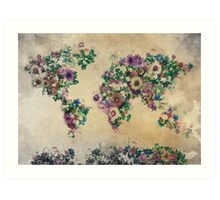 floral world map Art Print