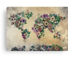 floral world map Canvas Print