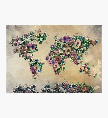 floral world map Photographic Print
