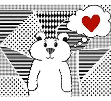 Teddy Bear Falling in Love Photographic Print