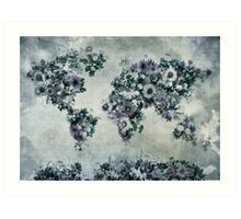 floral world map 2 Art Print