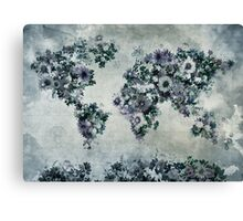 floral world map 2 Canvas Print