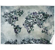 floral world map 2 Poster