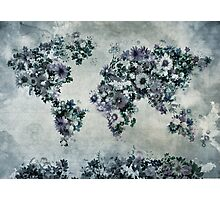 floral world map 2 Photographic Print