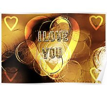 gold hearts i love you Poster