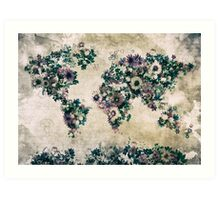 floral world map 3 Art Print
