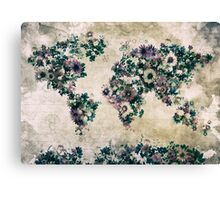 floral world map 3 Canvas Print