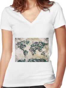 floral world map 3 Women's Fitted V-Neck T-Shirt