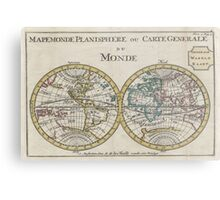 Vintage Map of The World (1706) Metal Print
