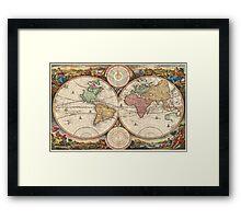 Vintage Map of The World (1730) Framed Print