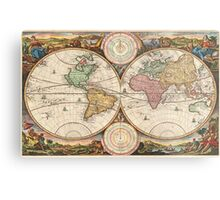 Vintage Map of The World (1730) Metal Print