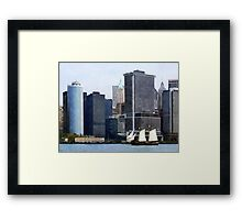 Boats - Schooner Against the Manhattan Skyline Framed Print