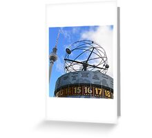 World Time Clock with Berlin TV Tower, Alex Greeting Card
