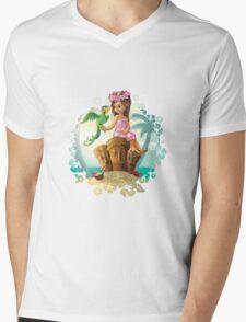 Hawaiian Friends Tiki Illustration Mens V-Neck T-Shirt
