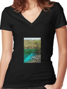 Lago di Cornino in Spring Women's Fitted V-Neck T-Shirt