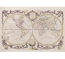 Vintage Map of The World (1782) Photographic Print
