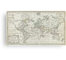 Vintage Map of The World (1784) Canvas Print