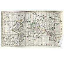 Vintage Map of The World (1784) Poster