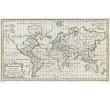 Vintage Map of The World (1784) Photographic Print