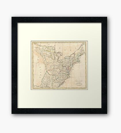 Vintage Map of Early America (1799) Framed Print