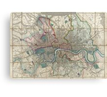 Vintage Map of London England (1852) Canvas Print