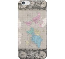 Vintage Map of The World (1852) 2 iPhone Case/Skin