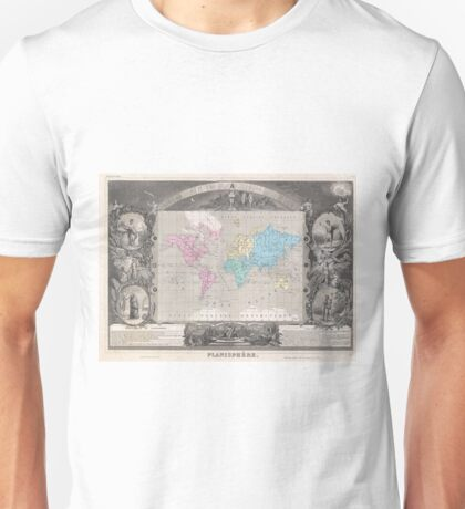 Vintage Map of The World (1852) 2 Unisex T-Shirt