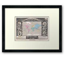 Vintage Map of The World (1852) 2 Framed Print