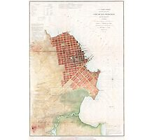 Vintage Map of San Francisco CA (1853) Photographic Print