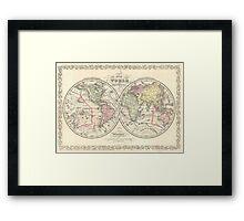 Vintage Map of The World (1856) Framed Print