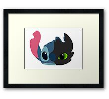 Stitch  and Toothless Framed Print