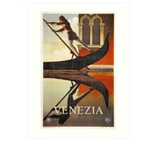 Vintage Venice Italy travel advert, gondola Art Print